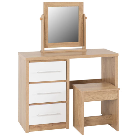 Seville Dressing Table Set In White High Gloss And Light Oak_2