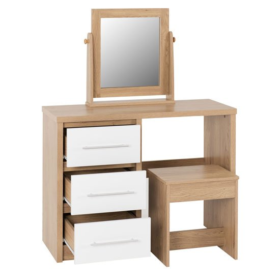 Seville Dressing Table Set In White High Gloss And Light Oak_3