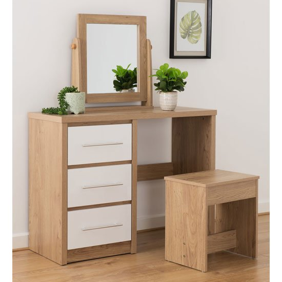 Seville Dressing Table Set In White High Gloss And Light Oak_1