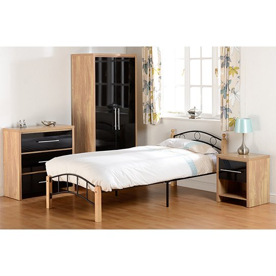 Seville Wooden Bedroom Set In Black High Gloss_5