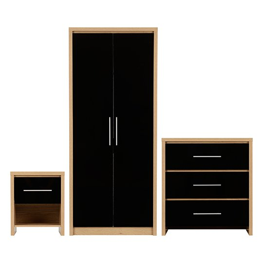 Seville Wooden Bedroom Set In Black High Gloss