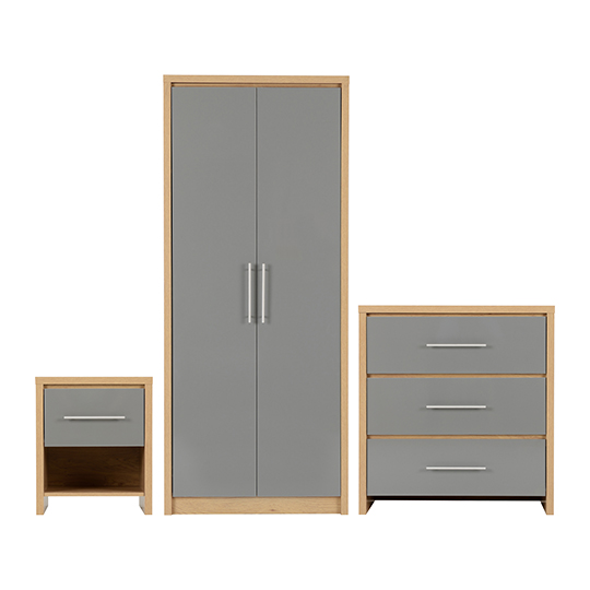Seville Wooden Bedroom Set In Grey High Gloss_1