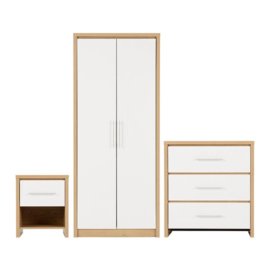 Seville Wooden Bedroom Set In White High Gloss