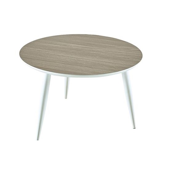 Seville Wooden Coffee Table Round In Oak And White
