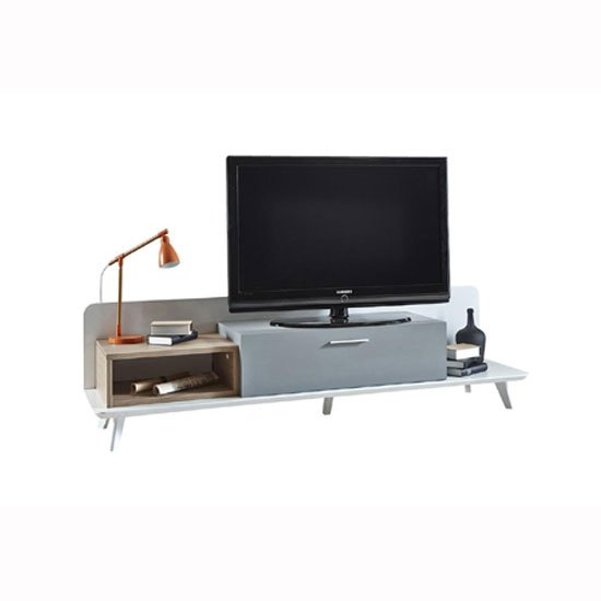 Seville Wooden TV Stand In White Grey And Oak With LED