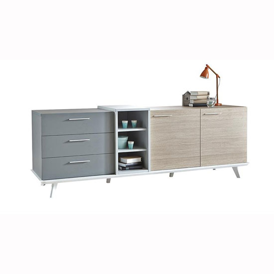 Seville Wooden Sideboard In White Grey And Oak With 2 Doors