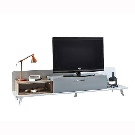 Seville Wooden TV Stand Large In White Grey And Oak With LED