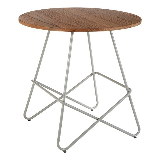 Seymour Wooden Round Dining Table With Metallic Grey Legs_2