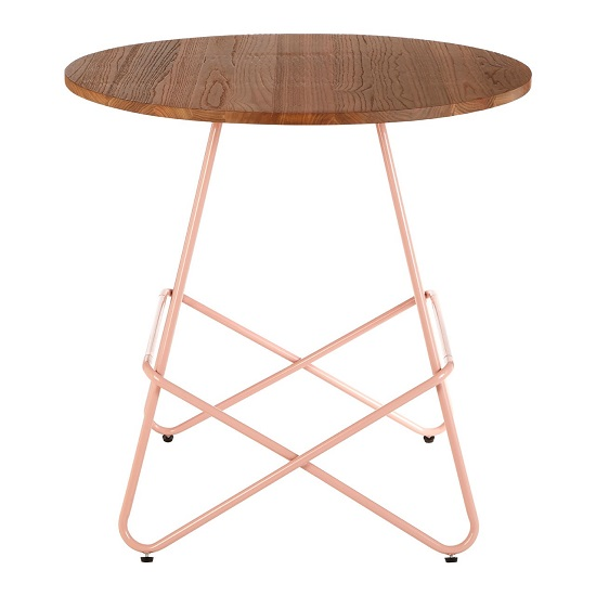 Seymour Wooden Round Dining Table With Metallic Pink Legs_1