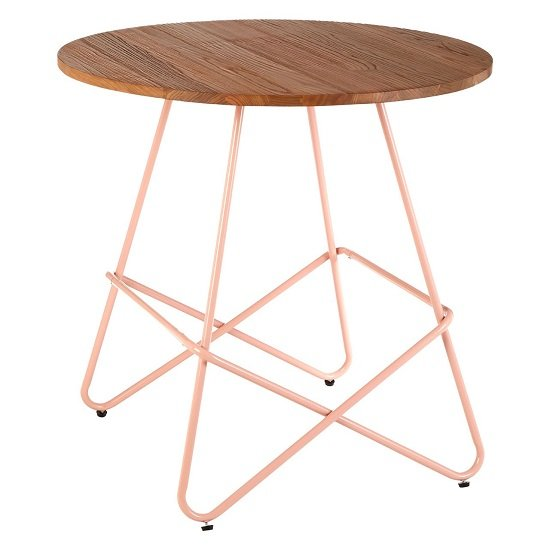Seymour Wooden Round Dining Table With Metallic Pink Legs_2
