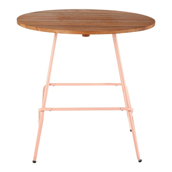 Seymour Wooden Round Dining Table With Metallic Pink Legs_3