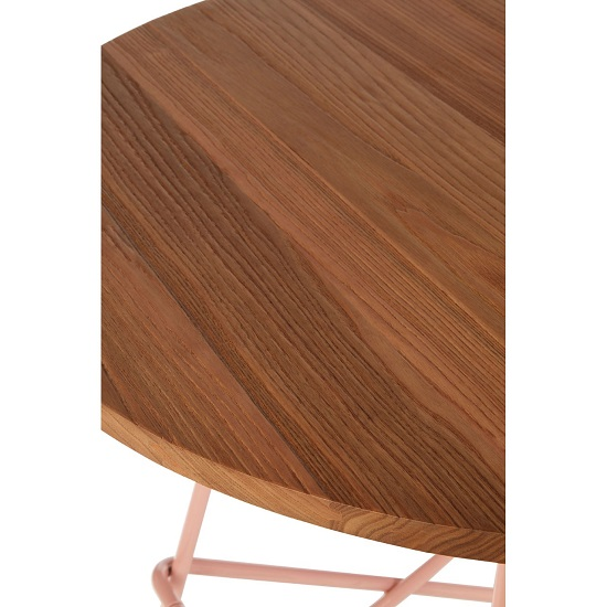 Seymour Wooden Round Dining Table With Metallic Pink Legs_4