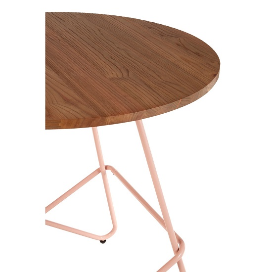 Seymour Wooden Round Dining Table With Metallic Pink Legs_5
