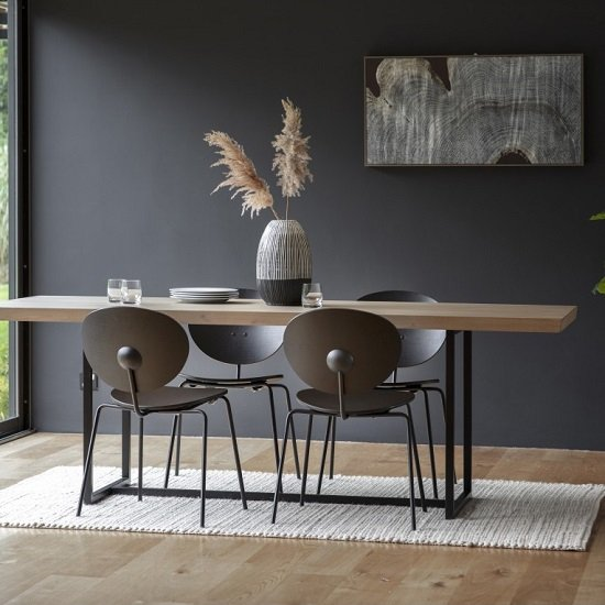 Shafer Wooden Rectangle Dining Table In Brushed Matt Grey