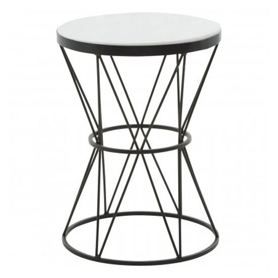 View Shalom round marble top side table in white with metal base