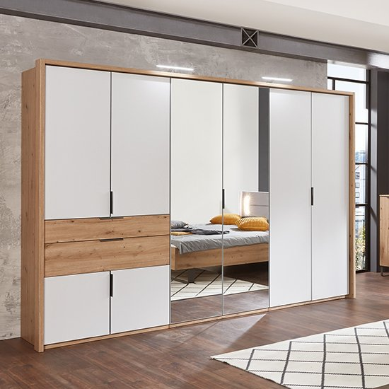 Shanghai Mirrored Wide Wardrobe In Artisan Oak And White