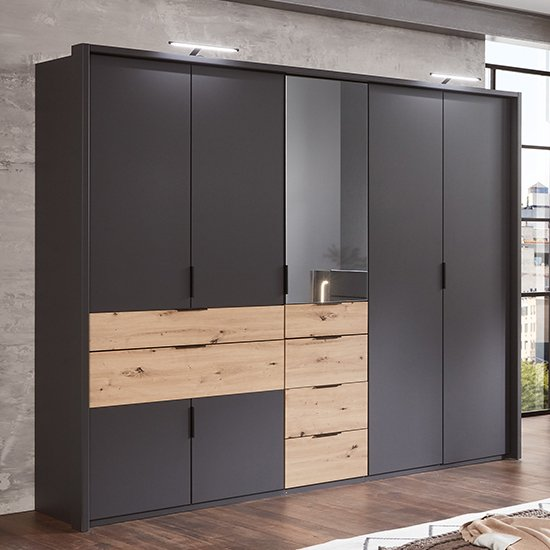 Shanghai Mirrored Wooden Wardrobe In Graphite And Artisan Oak