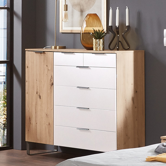 Shanghai Wooden Sideboard In Artisan Oak And White