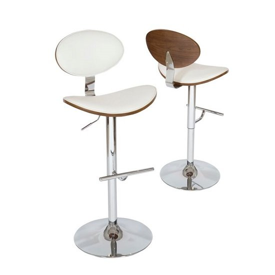 Shanon Stylish Bar Stool In White PU And Walnut