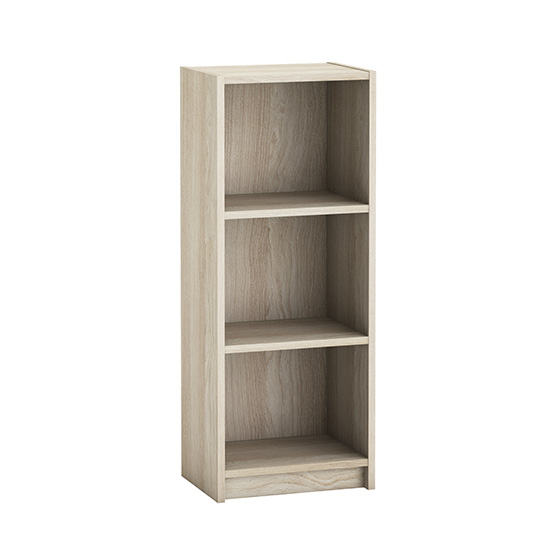 Sharatan Narrow Wooden Bookcase In Shannon Oak With 2 Shelves