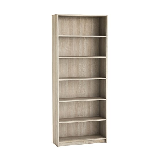 Sharatan Tall Wooden Bookcase In Shannon Oak With 5 Shelves