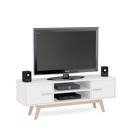 Shard Wooden TV Unit In White_2