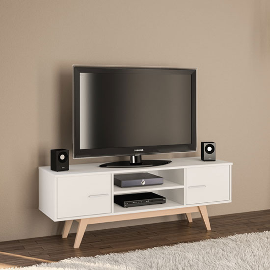 Shard Wooden TV Unit In White_1
