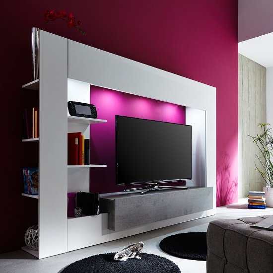 Santiago Entertainment Unit In White And Concrete With LED