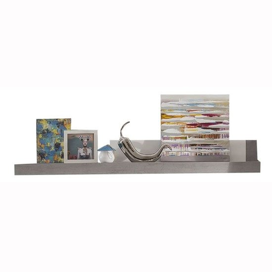 Parker Wall Mounted Shelf In Concrete And White Gloss With LED
