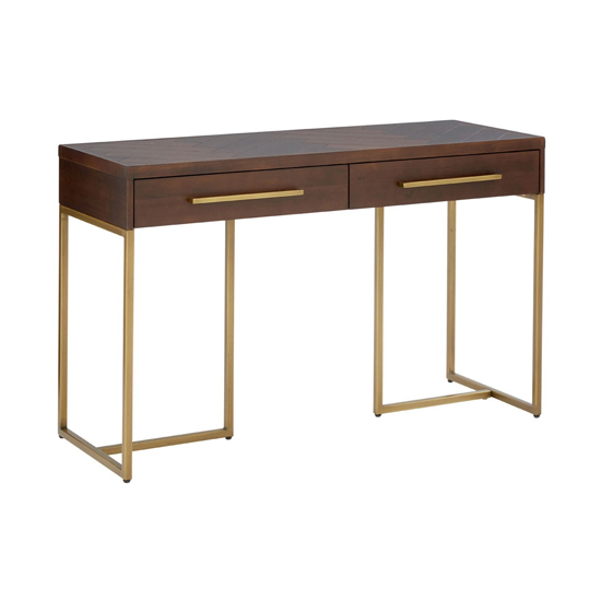 Shaula Wooden 2 Drawers Console Table In Brown
