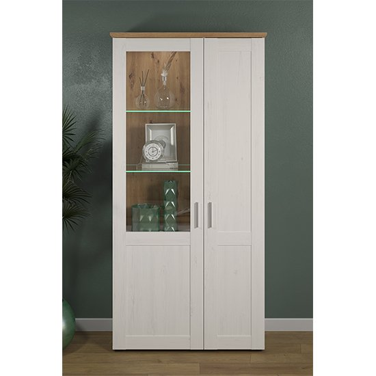 Shazo LED Large Display Cabinet In White Pine And Artisan Oak