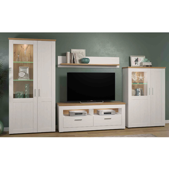 Shazo LED Living Room Furniture Set In White Pine Artisan Oak