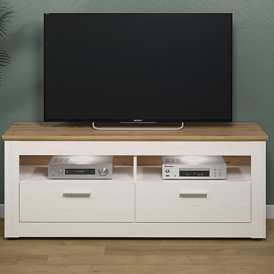 Shazo LED Wooden TV Stand In White Pine And Artisan Oak
