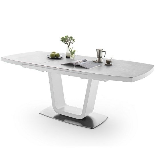 Shelby Extendable Dining Table In Light Grey And White