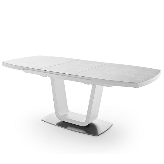 Shelby Extendable Large Dining Table In Light Grey And White