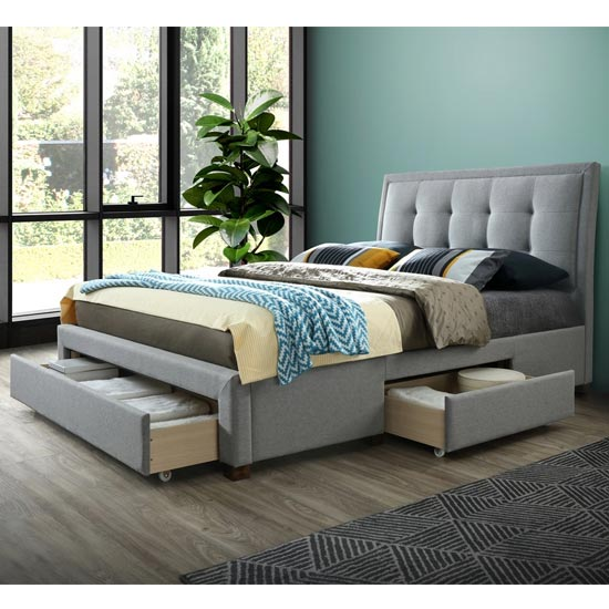 Shelby Fabric Double Bed In Grey