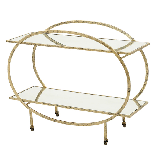 Shelby Mirrored Drinks Trolley In Antique Gold Metal Frame