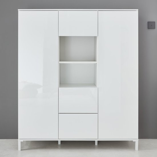 Sheldon High Sideboard In White High Gloss With 2 Door 3 Drawers_2