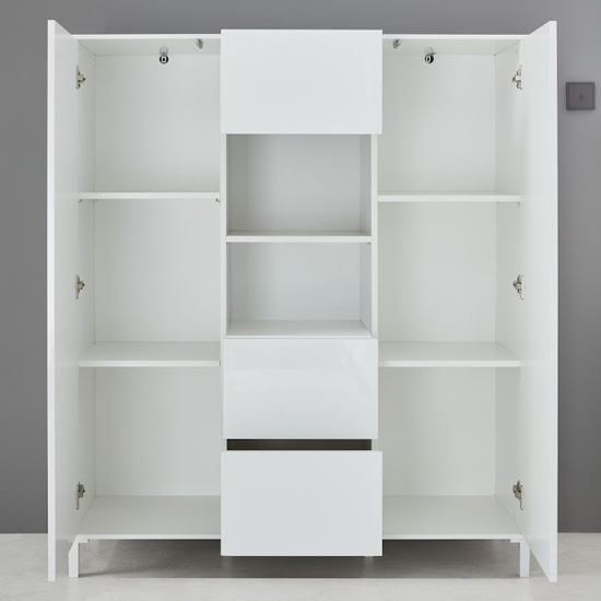 Sheldon High Sideboard In White High Gloss With 2 Door 3 Drawers_3