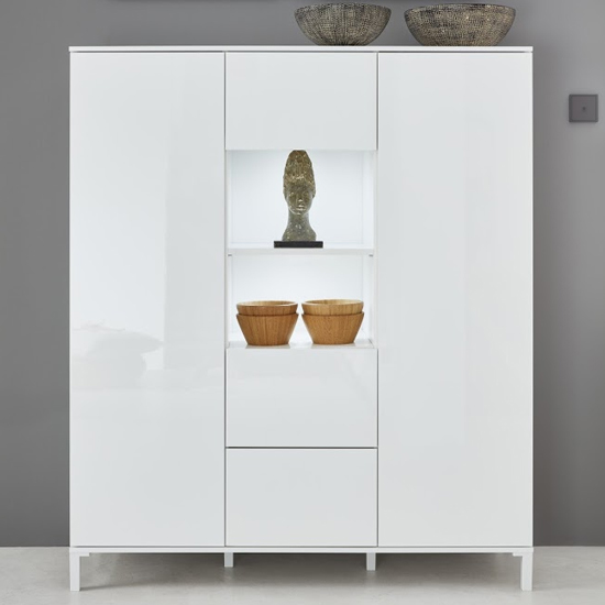 Sheldon High Sideboard In White High Gloss With 2 Door 3 Drawers
