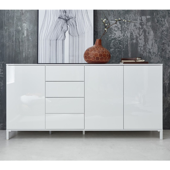 Sheldon Large Sideboard And Storage Cabinet In White High Gloss_2