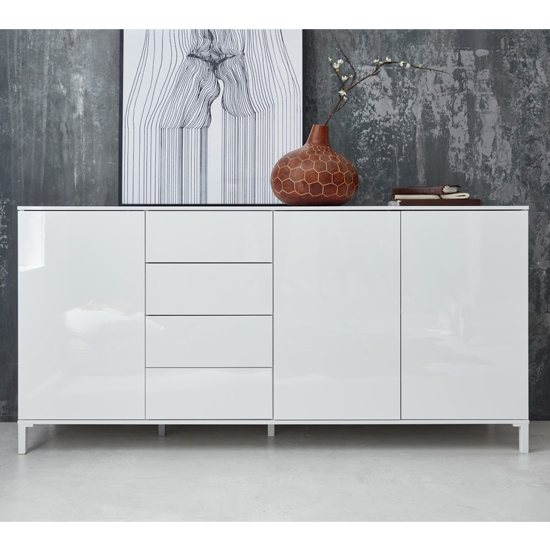 Sheldon Large Sideboard In White Gloss With 3 Doors 4 Drawers