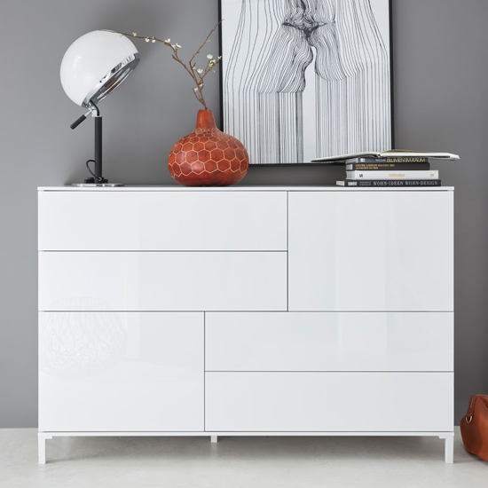 Sheldon Sideboard In White High Gloss With 2 Doors And 4 Drawers