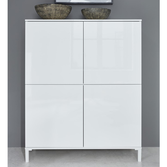 Sheldon Storage Cabinet In White High Gloss With 4 Doors