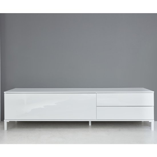 Sheldon TV Stand In White High Gloss With 1 Door And 2 Drawers_2