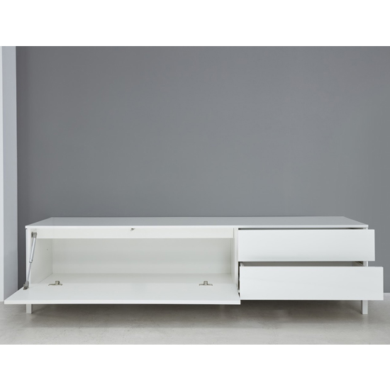Sheldon TV Stand In White High Gloss With 1 Door And 2 Drawers_3