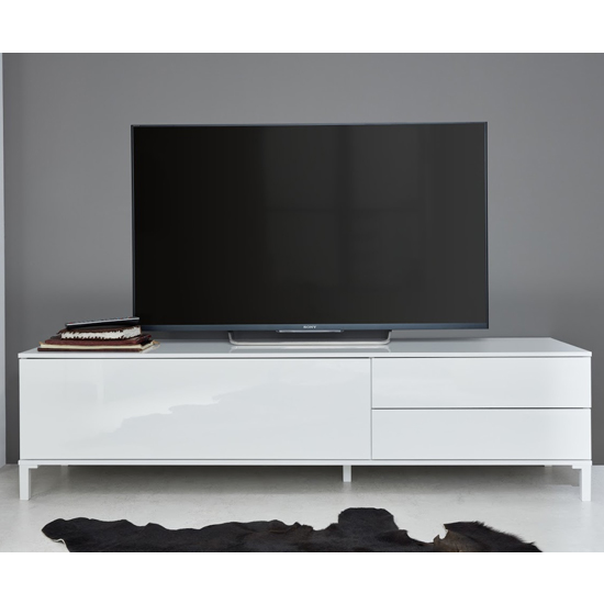 Sheldon TV Stand In White High Gloss With 1 Door And 2 Drawers