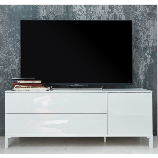 Sheldon Wide TV Stand In White High Gloss With 1 Door 2 Drawers