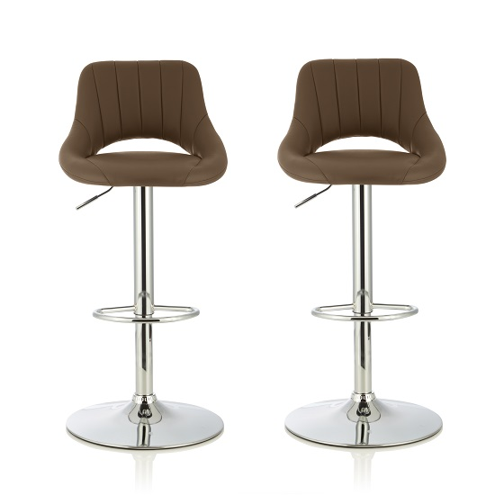 Shello Bar Stool In Cappuccino Faux Leather In A Pair