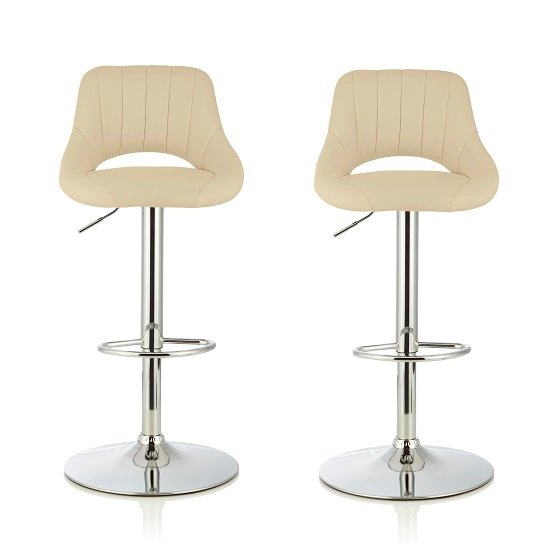 Shello Bar Stool In Cream Faux Leather And Chrome Base In A Pair